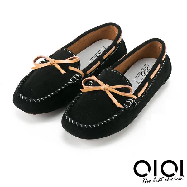 平底鞋 手縫渲染蝴蝶結真皮平底鞋(黑)*0101shoes  【18-1168bk】【現貨】