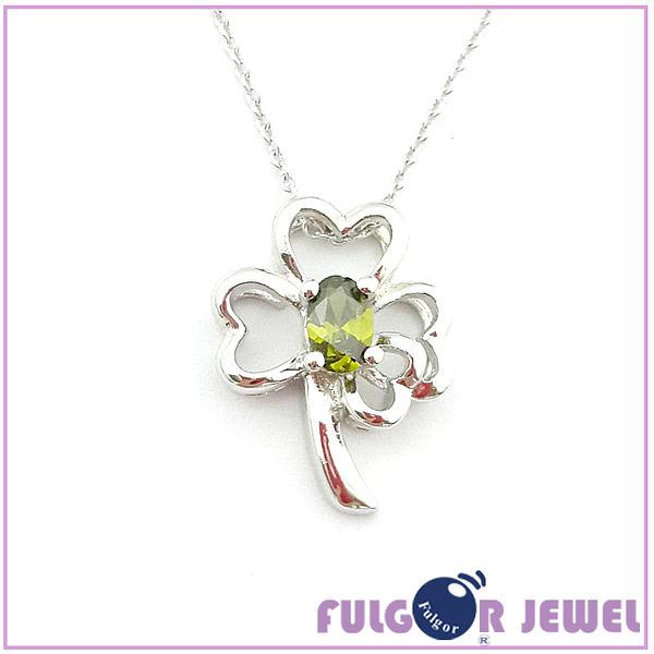 流行飾品 歐美流行款式 幸運草造型 鋯石 項鏈【Fulgor Jewel】