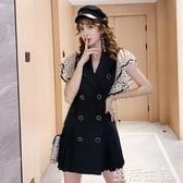 網紗洋裝 波點網紗荷葉邊袖西裝翻領雙排扣百褶連身裙女2020夏季新款百褶裙 生活主義