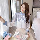 出清388 韓系印花系帶雪紡襯衫寬鬆百搭單品長袖上衣