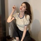 夏季2020新款法式方領泡泡短袖冰絲針織衫女短款顯瘦紫色T恤上衣