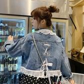 2019秋裝女裝新款韓版洋氣寬鬆短款娃娃領蝴蝶結綁帶百搭牛仔外套