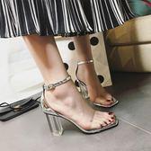 粗跟涼鞋女新款透明鞋跟水晶鞋高跟女鞋羅馬仙女的鞋復古  卡布奇諾