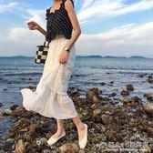 時尚韓版仙女氣質百搭褶皺半身蛋糕紗裙夏 概念3C旗艦店