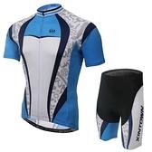 自行車衣-(短袖套裝)-高彈力吸濕排汗時尚男單車服套裝73er17【時尚巴黎】