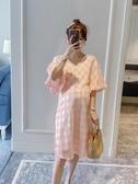 孕婦哺乳連衣裙春夏裝2019新款寬松格子上衣韓版時尚款中長款裙子