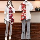 雪紡上衣L-4XL大碼女裝胖妹妹遮肉減齡洋氣時髦襯衫6043.1F092韓衣裳