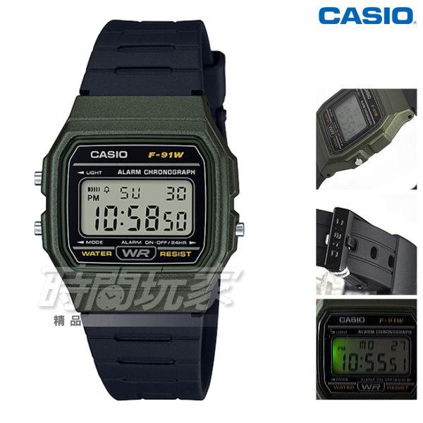 CASIO卡西歐 F-91WM-3A 復古造型方型設計運動數位電子錶 男錶 中性錶 防水 黑x軍綠框 F-91WM-3ADF