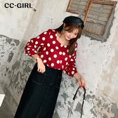 中大尺碼 復古風寬袖圓點方領上衣~共三色 - 適XL~4L《 69011HH 》CC-GIRL