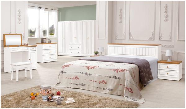 【森可家居】頌伊6尺床組(全組) 7ZX168-3 雙人加大 臥室房間組 英式鄉村風 白色 衣櫃