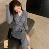 出清388 韓國學院風單排釦坑條針織長版長袖洋裝裙