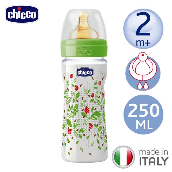 chicco-舒適哺乳-自然田園乳膠PP大奶瓶250ML(單孔2m+)
