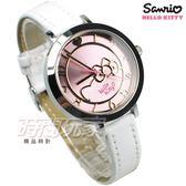 HELLO KITTY 凱蒂貓 時尚大臉貓 童趣卡通腕錶 粉紅色 真皮 日常防水 女錶 LK703LWPW