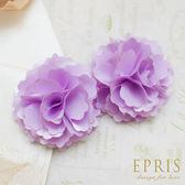 粉紫緞面韓版羅曼蒂克花朵鞋扣鞋夾配飾