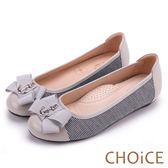 CHOiCE 舒適甜美 雙材質拼接船錨飾釦平底娃娃鞋-米色