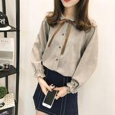 【618】好康鉅惠韓版學院風蝴蝶結系帶長袖襯衫學生襯衣