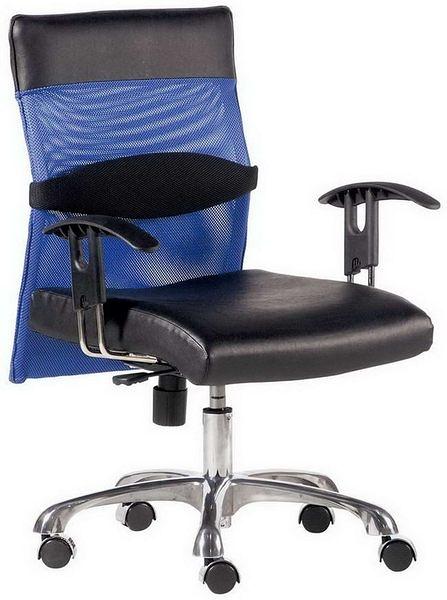HP347-10 辦公椅/黑皮+藍網布/氣壓+後仰