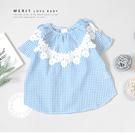 純棉 中大童 花朵蕾絲藍白細格紋棉麻寬鬆上衣 短袖 圓下擺 日系 甜美 氣質 哎北比童裝