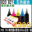 【五色空匣含晶片+250cc墨水組】CANON PGI-820+CLI-821 填充式墨水匣 五色一組 適用 IP3680 IP4680 等