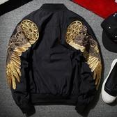 空軍夾克 MA1-帥氣羽毛刺繡設計飛行員男軍裝外套3色73pf9【巴黎精品】
