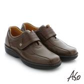 A.S.O  手縫氣墊 魔鬼氈壓紋牛皮休閒鞋 咖啡
