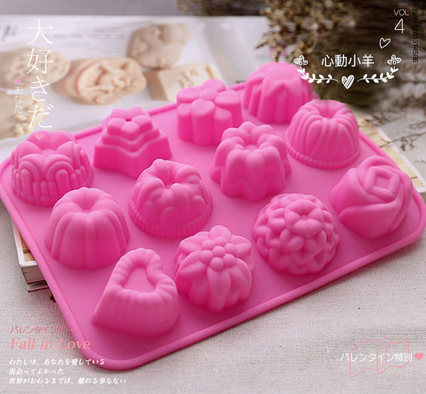 心動小羊^^超美12連花朵葉子 矽膠 果凍 巧克力 布丁 手工皂 製冰盒 餅乾 烘焙模具