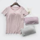 胸墊上衣 夏季女T恤短袖莫代爾條紋打底衫上衣瑜伽運動免穿文胸罩杯 百分百