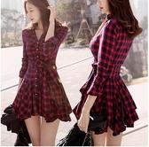 長袖襯衫洋裝 新款修身長袖紅色格子氣質收腰秋冬款裙子春裝連衣裙 - 雙十二交換禮物