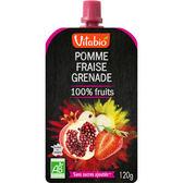 Vitabio 有機優鮮果PLUS蘋果草莓石榴120G-法國原裝進口12個月以上嬰幼兒專屬副食品