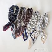 韓國條紋小方巾絲巾春季百搭新款裝飾文藝小領巾花間公主