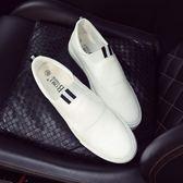 小白鞋一腳蹬皮鞋英倫白色男士休閒鞋豆豆鞋樂福鞋青年社會小伙鞋 限時八五折