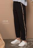 A-SO-BI韓系-腰彈性兩側拼接豹紋休閒長褲【B10273-14】