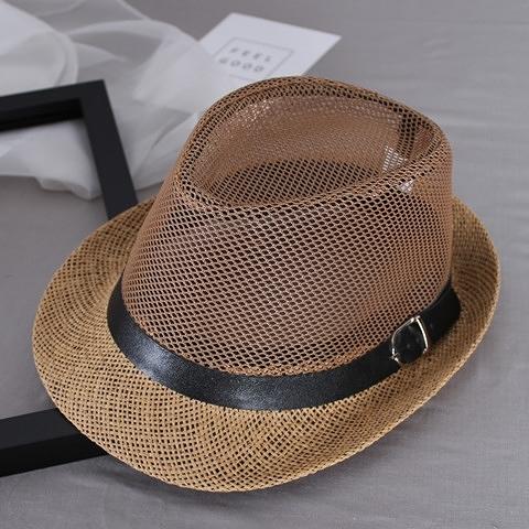 夏季男士草帽子太陽帽網眼透氣遮陽涼帽爵士禮帽情侶度假沙灘夏天 星河光年