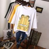棉質 卡通貓印花長版T桖上衣-大尺碼 獨具衣格