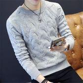 秋冬季男士毛衣圓領寬鬆毛線衣學生打底衫領尚潮流個性韓版針織衫 藍嵐