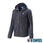 K-SWISS Solid Windbreaker F1刷毛風衣外套-女-黑