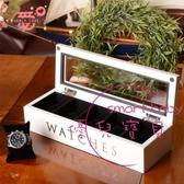 飾品實木質五格手錶盒 首飾收納盒收藏盒 儲物盒白黑棕色 【快速出貨】