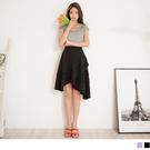 《CA1683》純色後腰鬆緊不規則層次拼接蛋糕裙 OrangeBear