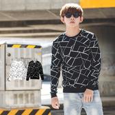 長T 韓國製超彈力滿版幾何線條長袖上衣【NB0655J】