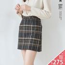VOL938  復古風撞色格紋款式  貼心小褲褲內裡設計  秋冬款黑灰色不失優雅