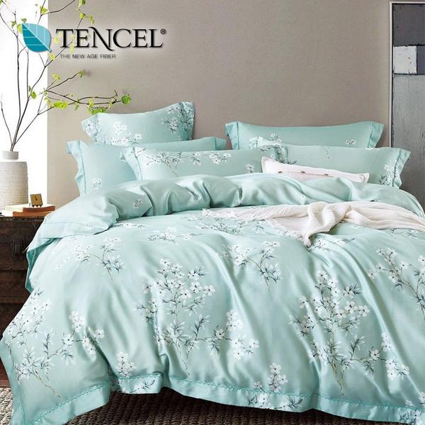 【貝淇小舖】天絲床包四件式 100%萊賽爾天絲雙人5x6.2尺 鋪棉兩用被床包組 附天絲吊卡 花雨露