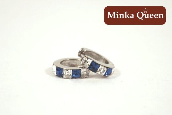 德國鈦鋼 單排白深藍鑽造型 精緻鋯石抗敏易扣耳環(一對)(9 mm)