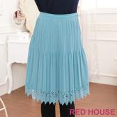 RED HOUSE-蕾赫斯-燒花百摺雪紡裙(湖水藍)
