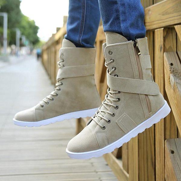 秋冬季棉鞋高幫馬丁靴中筒男靴子韓版潮男鞋軍靴牛仔靴個性長筒靴 圖拉斯3C百貨