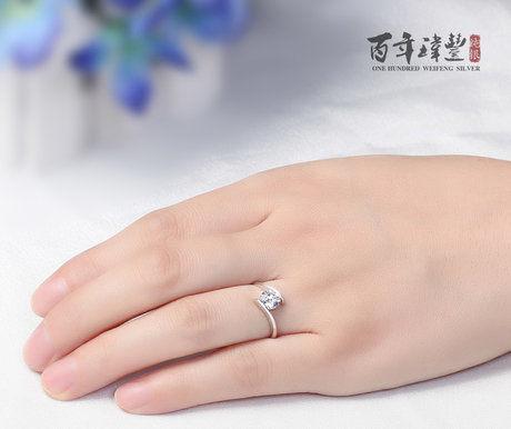 銀戒指 女指環 高檔真鑽戒 鑽 生日禮物