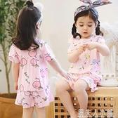 夏季短袖女童兒童綿綢睡衣薄款小童女孩小孩子寶寶棉綢家居服套裝「錢夫人小鋪」