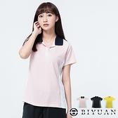【OBIYUAN】女生衣服 短袖上衣 素色 透氣 機能運動 POLO衫 共3色【SP847】