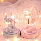 浪漫櫻花小夜燈裝飾氛圍燈水晶球音樂盒女生日情人圣誕節情侶禮物 夢露時尚女裝