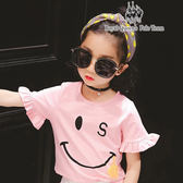 小童春夏款微笑圖案荷葉邊袖粉色棉T  RQ POLO 小童春夏款[A8398]