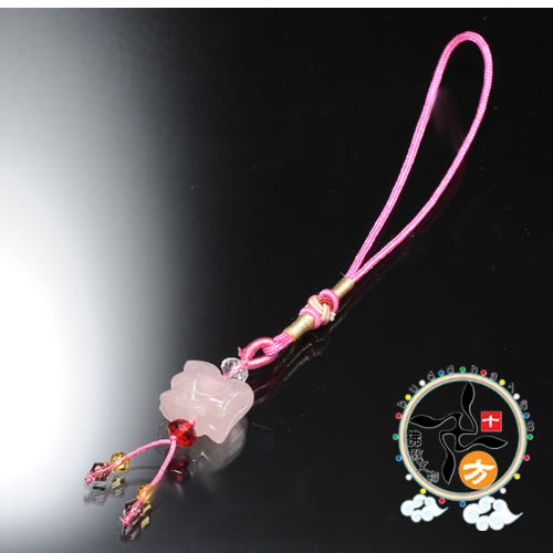 龍(粉晶)吊飾+ 平安小佛卡【十方佛教文物】
